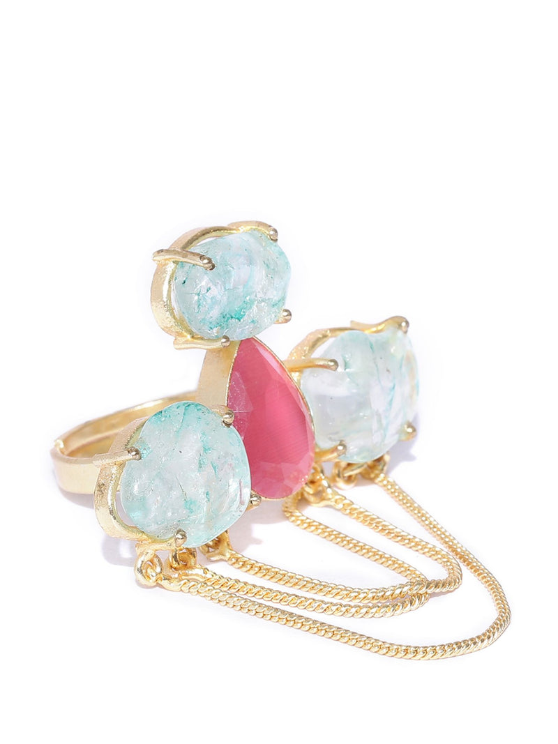 Blueberry gold plated agate stone detailing ring