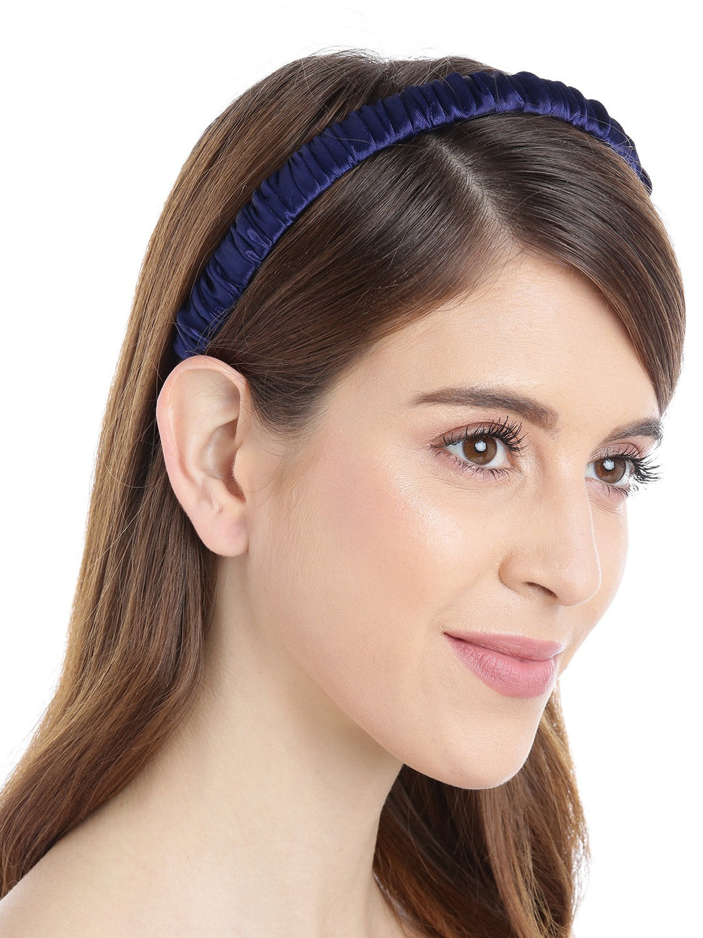 Blueberry navy blue pleated fabric detailing hairband