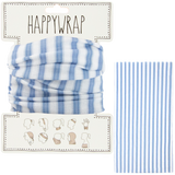 Hair, neck, wrist or head to a face mask wrap blue stripe