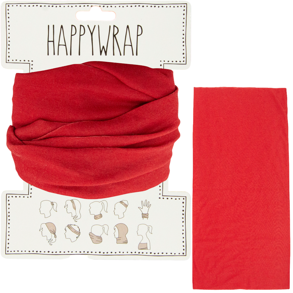 Hair, neck, wrist or head to a face mask wrap red