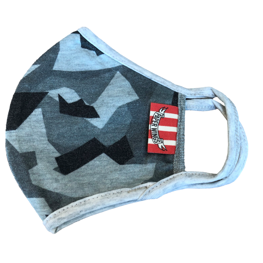 Grey Camo Kids washable cotton face mask