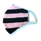 Pink and grey stripe: Washable cotton face mask