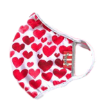 Hearts: Washable cotton terry  face mask