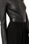 Stretch fitted leather body in black with long sleeves