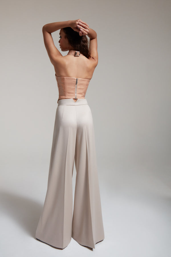 nude wide leg high waist pants in wool