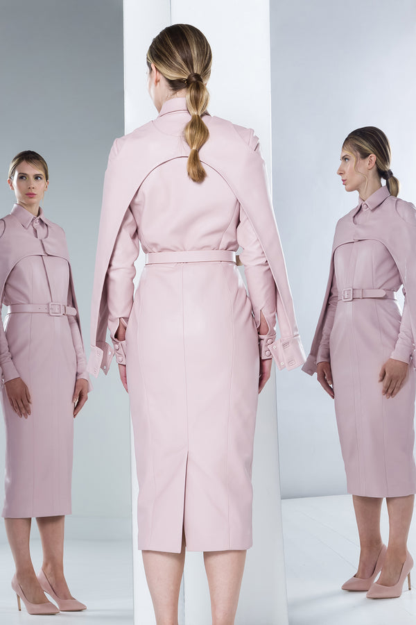 Ariadne leather pink shirt dress with removable bolero