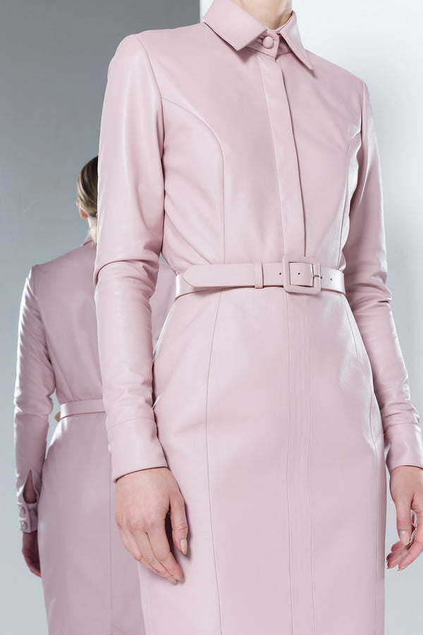 Ariadne pink leather shirt dress with a skinny belt
