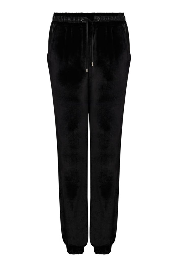 BOX PANTS IN LIGHT VELVET AND LEATHER DETAILS