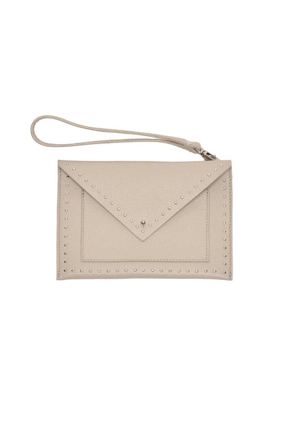 Studded envelope in beige leather with card pocket leather pouch