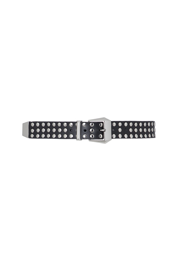 studded belt in black leather