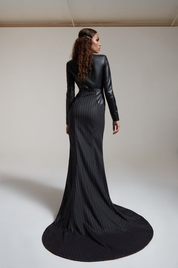 evening gown with train in black leather and silky wool