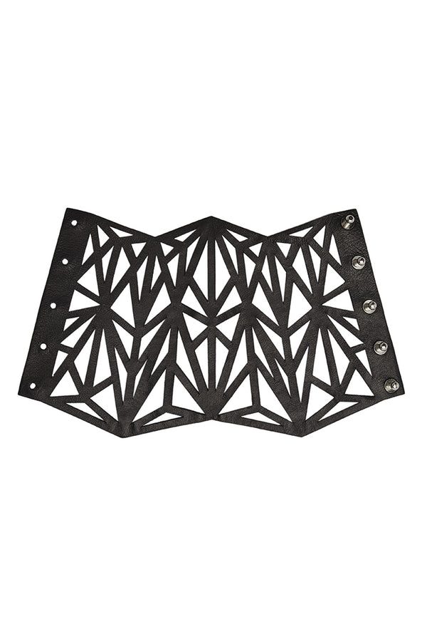 'ELEMENT' LASERCUT CUFF - PITCH BLACK