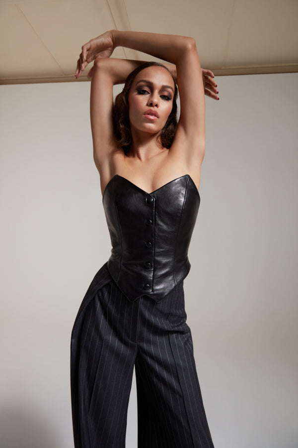 black vegetable tan leather corset with buttons