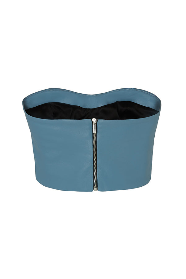 top with back zip blue leather