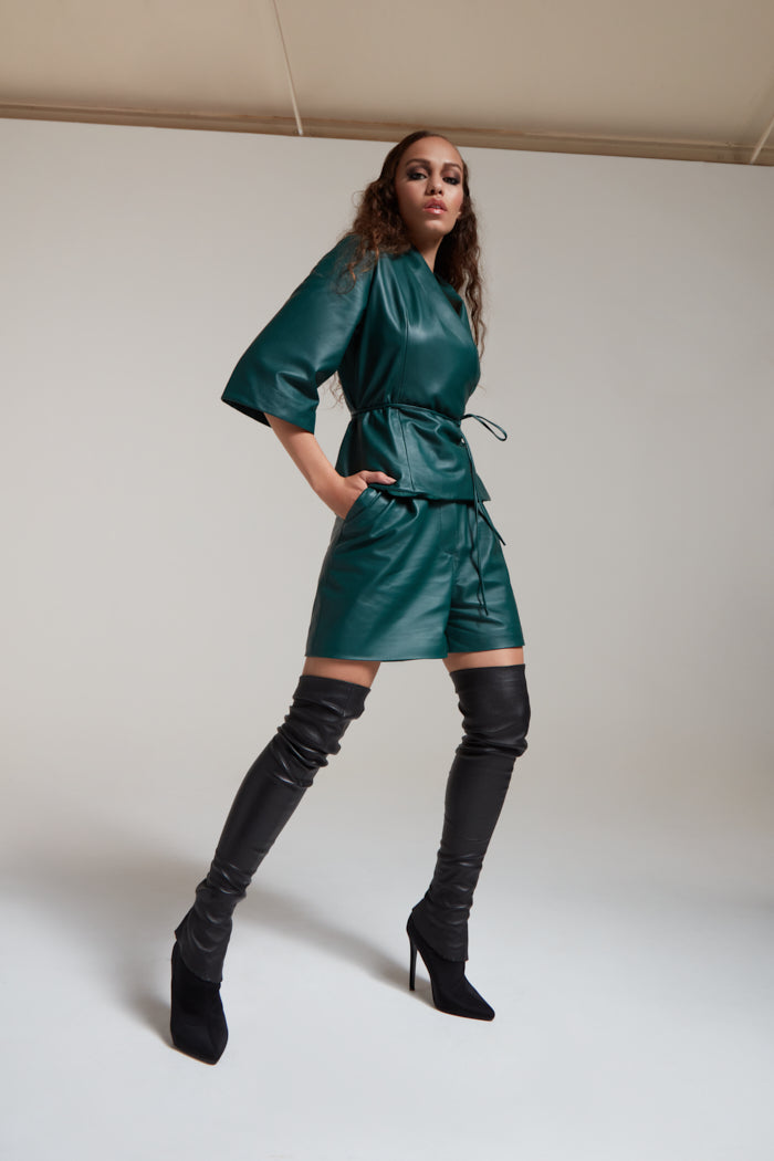 Wrap top with 3/4 sleeves in bottle green leather
