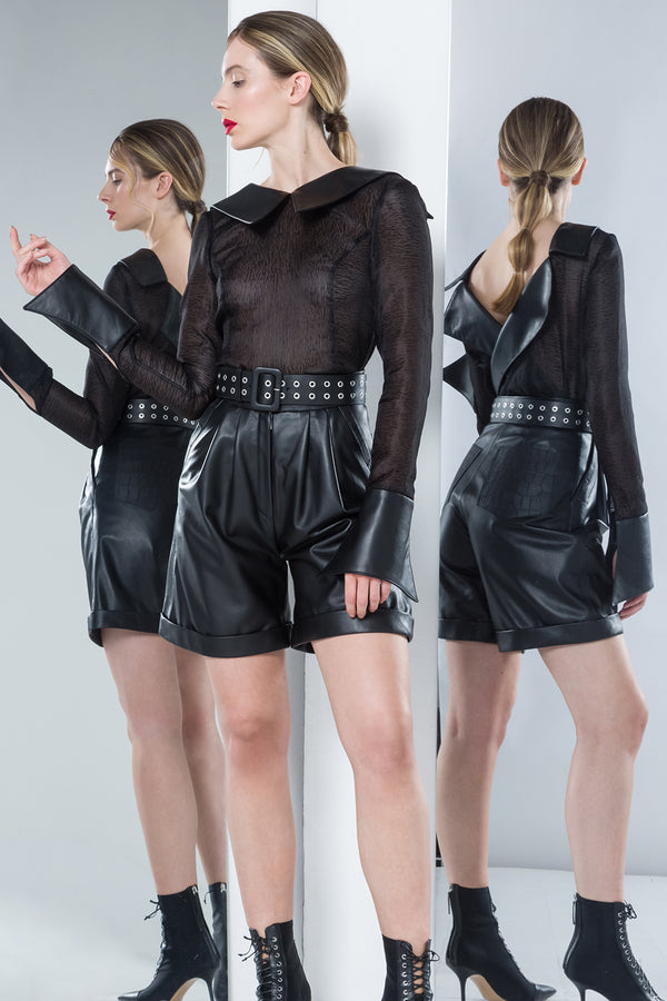 black leather shorts with eyelet belt