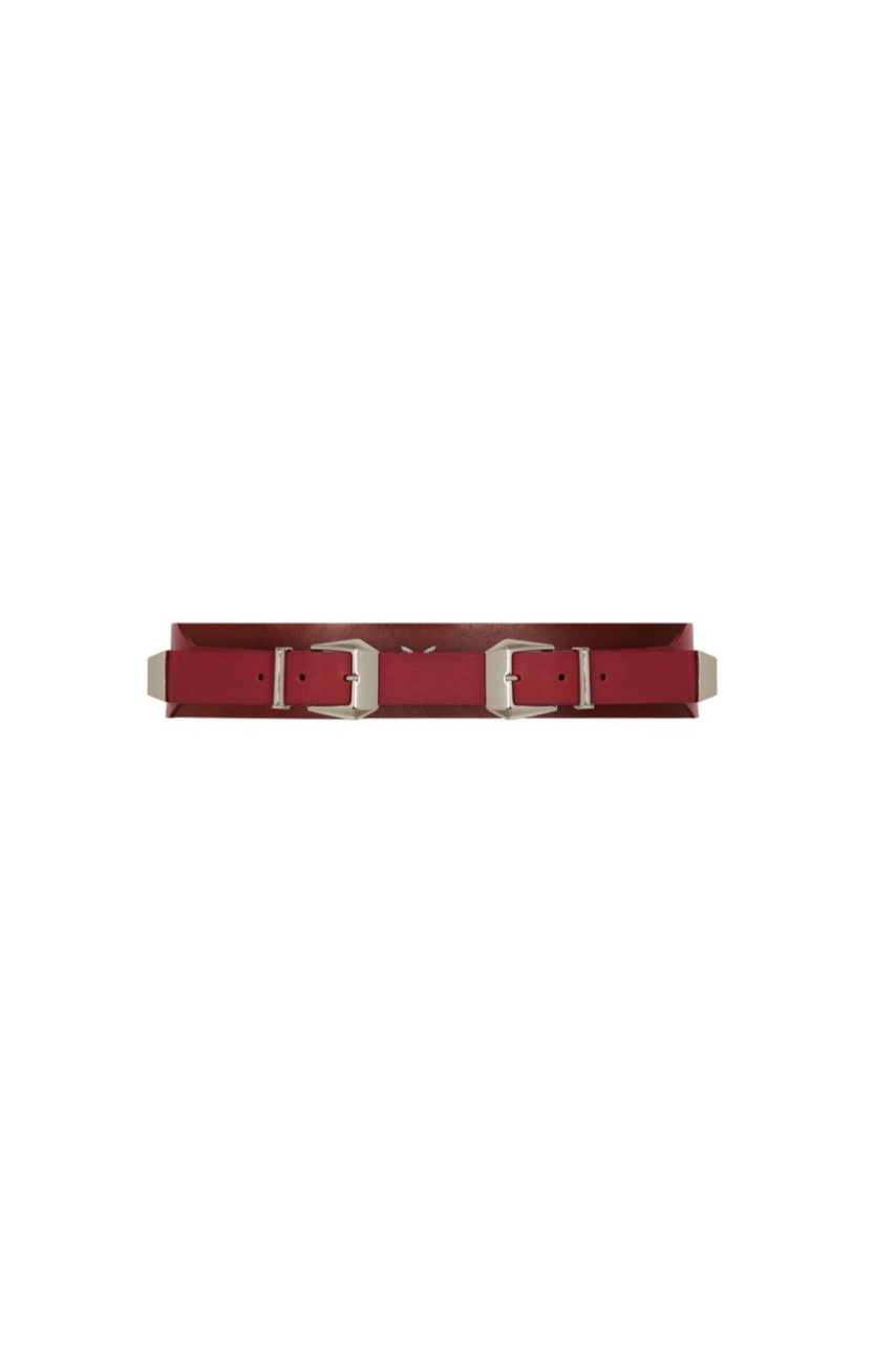 double buckle belt in red leather