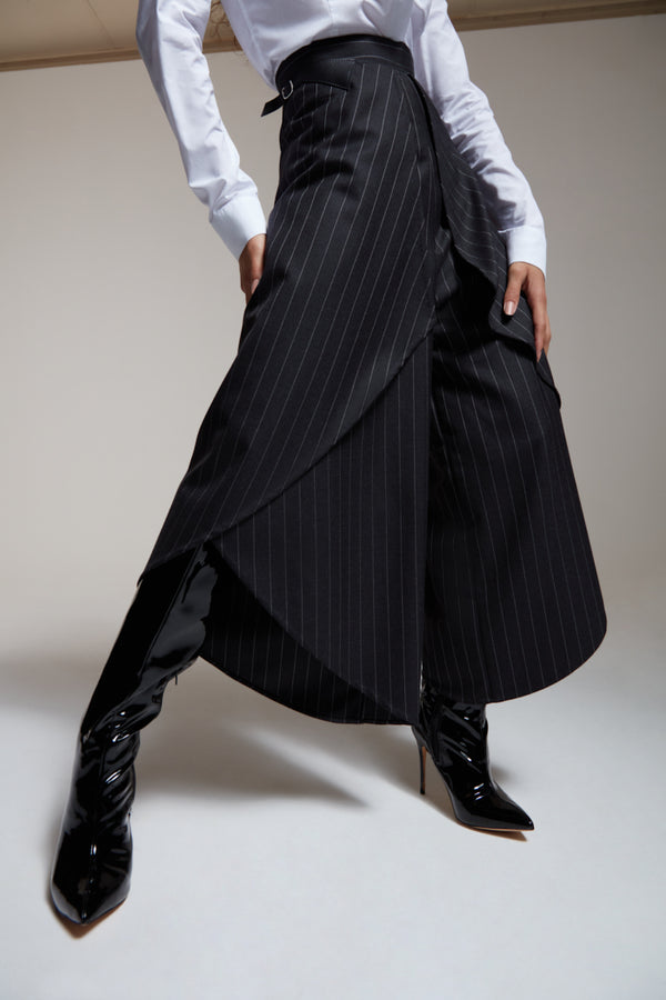pin stripe wool skort pants