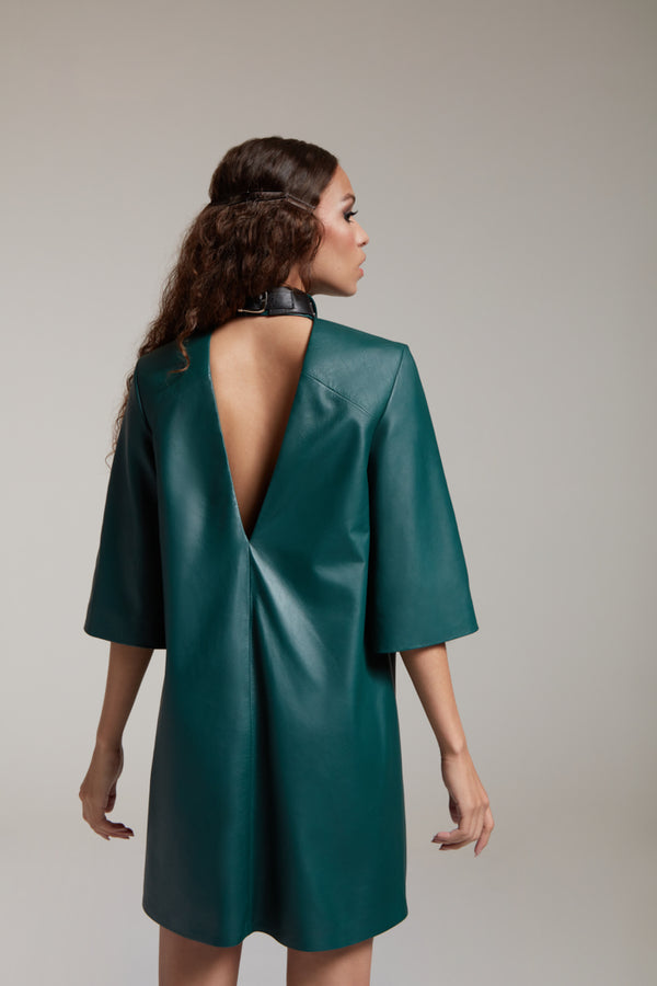 Leather shirtdress with open back in bottle green