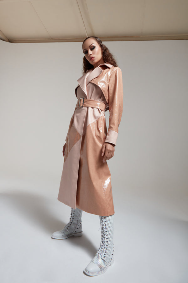 nude trench coat in patent leather with a belt