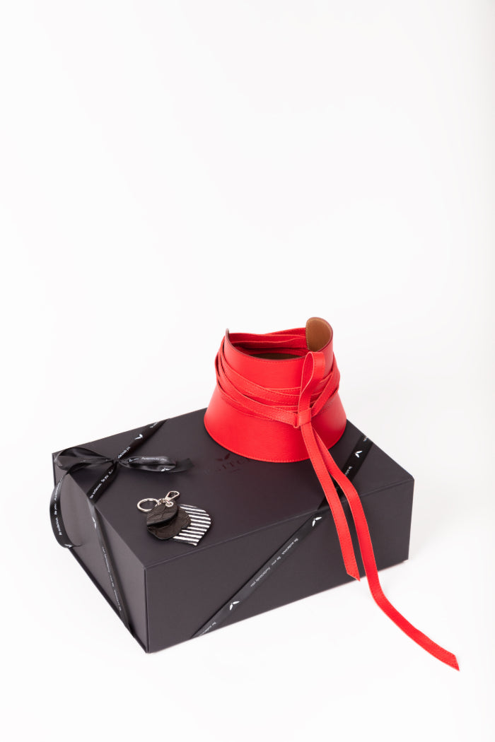 red leather corset belt by PRITCH