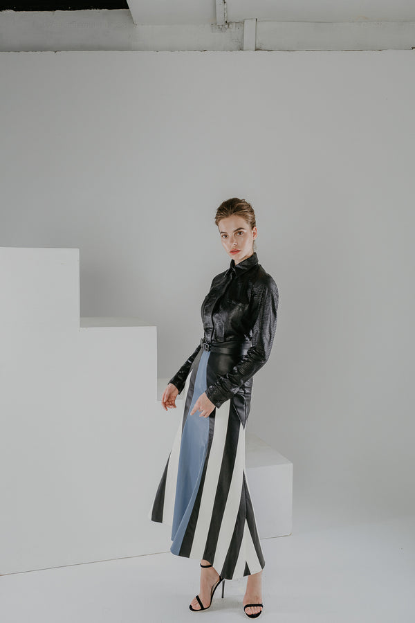 Magic mirror fitted mid length leather skirt with stripes