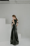 Black mirror maxi black leather skirt