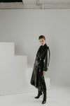 Black gold trench with sequins and patent leather details