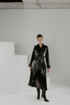 Black gold leather trench with sequins and patent leather belt