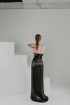 Black silk skirt with black leather corset