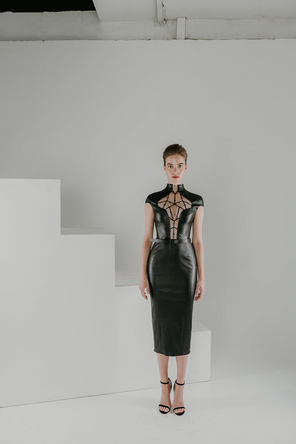 Escher LBD in black leather with see through embroidery
