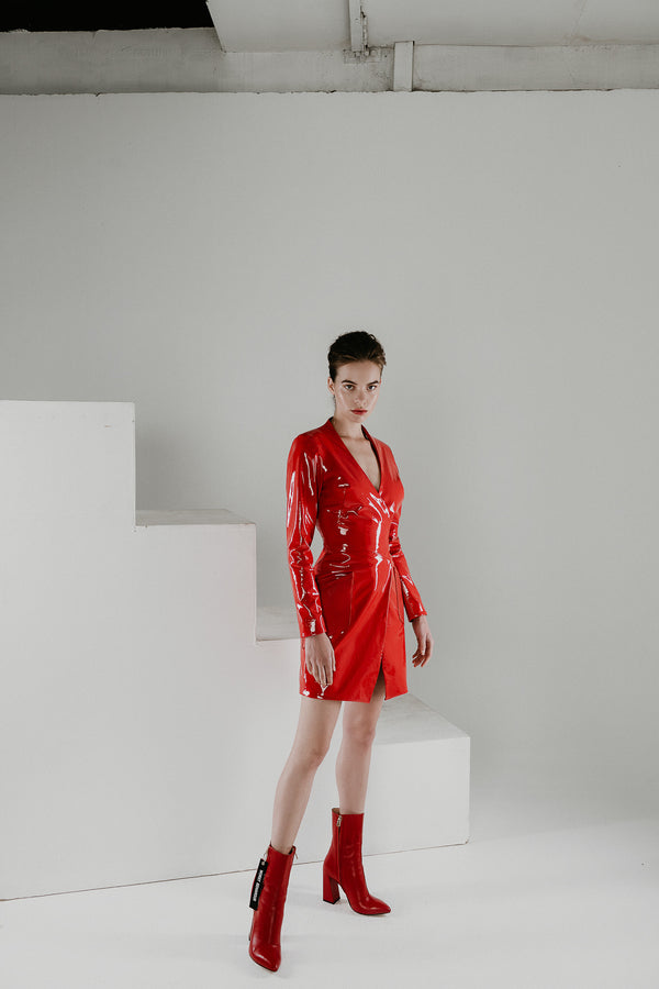 Blaze red patent leather short dress