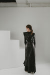 Seducer gown in thin leather and pleated python leather couture