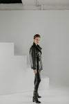 Hexagon alligator biker jacket with oversized sleeves