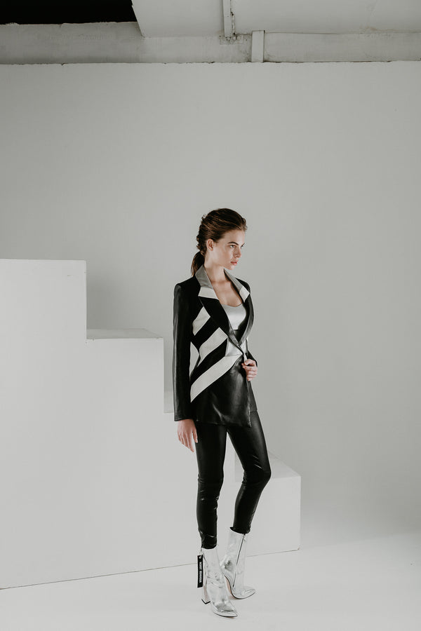 Blazer tailored  jacket in leather with white and silver panels