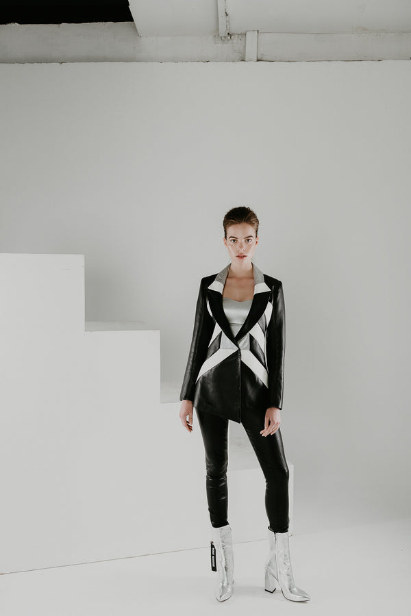 Leather blazer jacket in black and white nappa