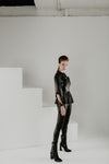 Nero black soft leather shirt with pleated basque