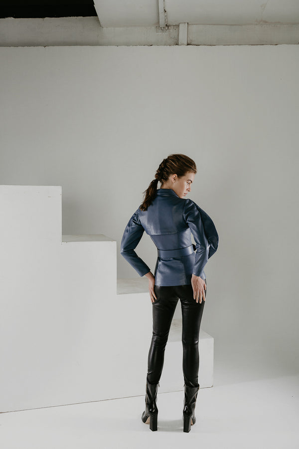 Blue transformer belted jacket in leather