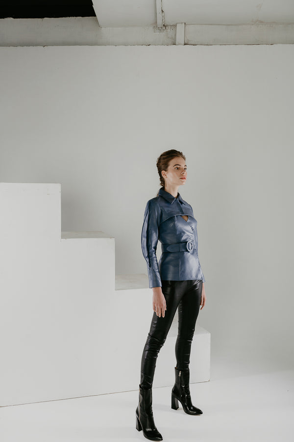 Blue transformer jacket and bolero in leather with belt