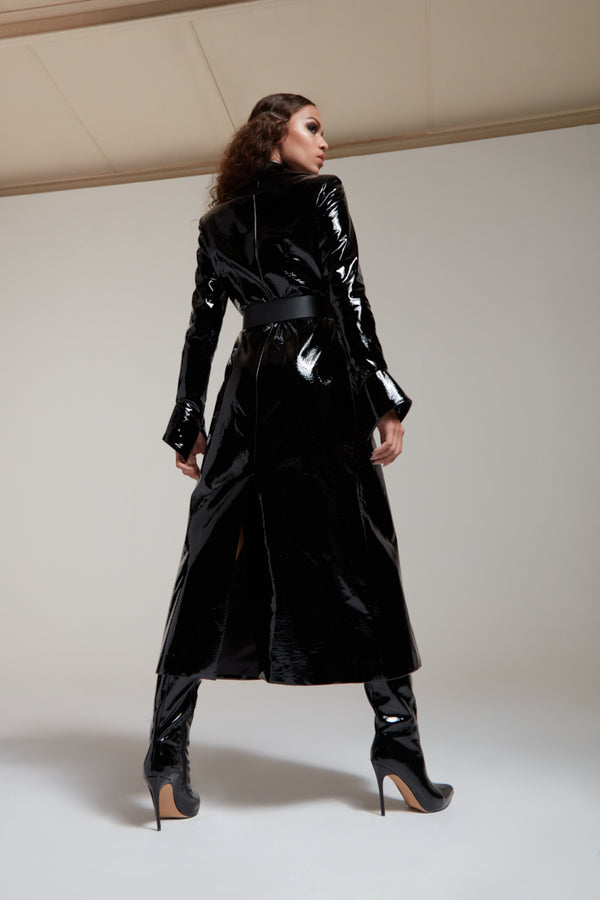 long coat in black patent leather