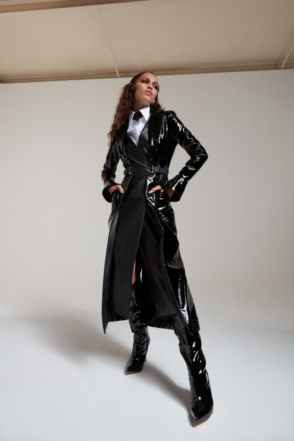 black patent leather coat with a belt