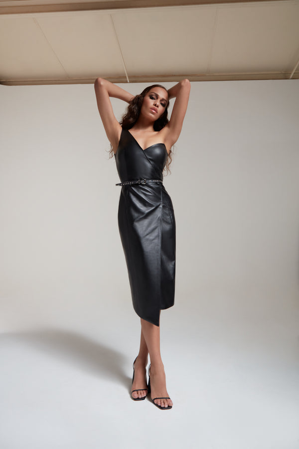 asymmetric fitted stretch leather black dress