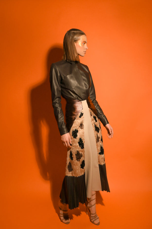 Sahara beige and brown skirt in leather