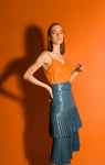 Malian blue pleated midi skirt in leather