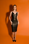 Leather fitted black stretch LBD little black dress