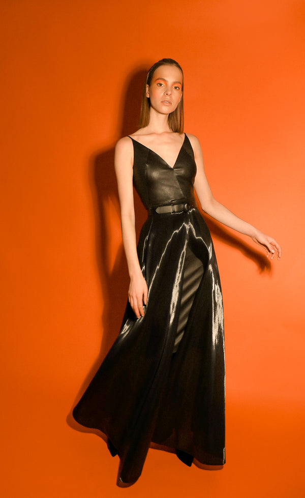 Malian transformer gown in leather with removable overskirt