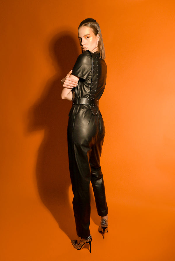 Moor soft leather fitted  jumpsuit with short sleeves