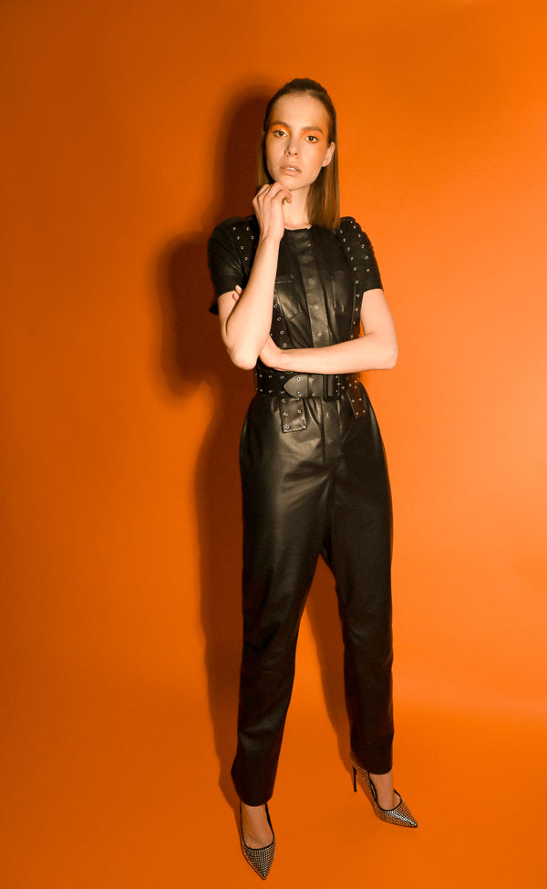 Moor soft leather belted jumpsuit with short sleeves