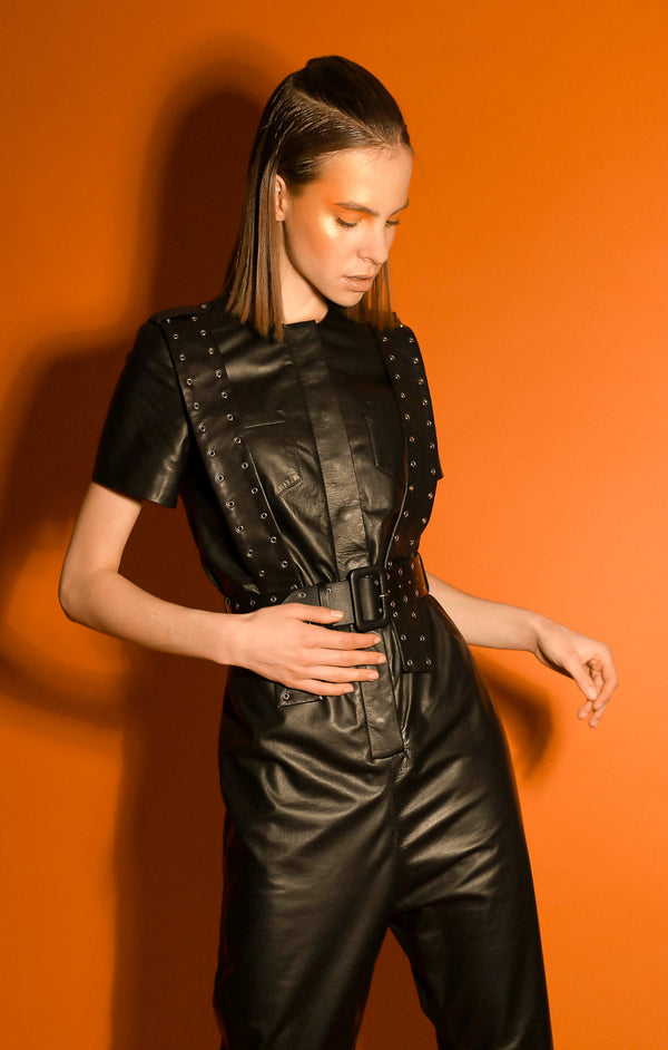 Moor soft black leather jumpsuit with belt
