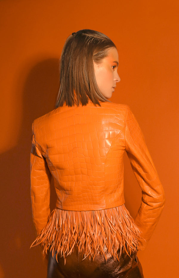 Dogon jacket in orange crocodile leather with removable feathers